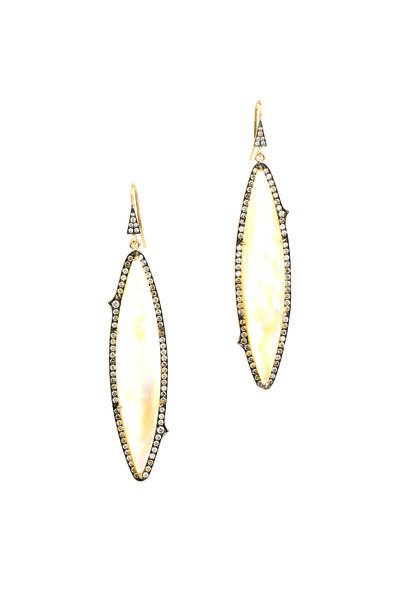 Sylva & Cie - Yellow Gold Champagne Diamond Drop Earrings