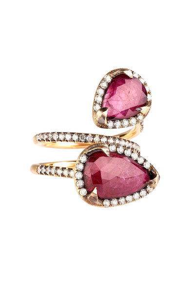 "Sylva & Cie - ""Moi & Toi"" Gold Ruby Diamond Crossover Ring"