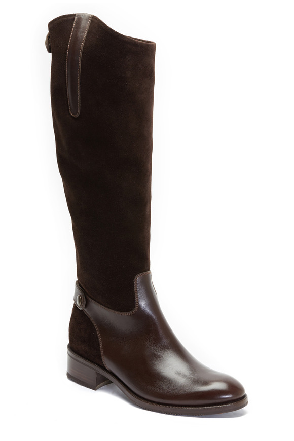 Gravati Chocolate Suede & Leather Tall Boot, 35mm
