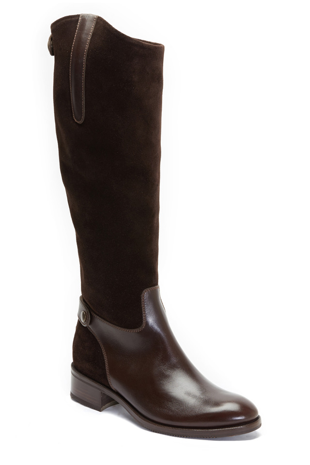 Chocolate Suede & Leather Tall Boot, 35mm