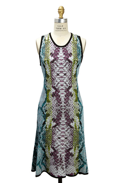 Roberto Cavalli - Multicolored Snake Print Knit Dress
