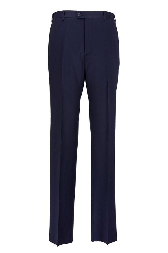 Zanella Todd Navy Blue Worsted Wool Trousers