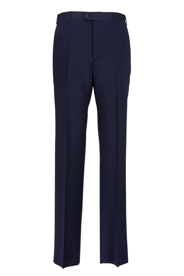 Todd Navy Blue Worsted Wool Trousers