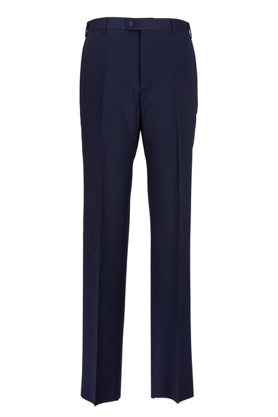 Zanella - Todd Navy Blue Worsted Wool Trousers