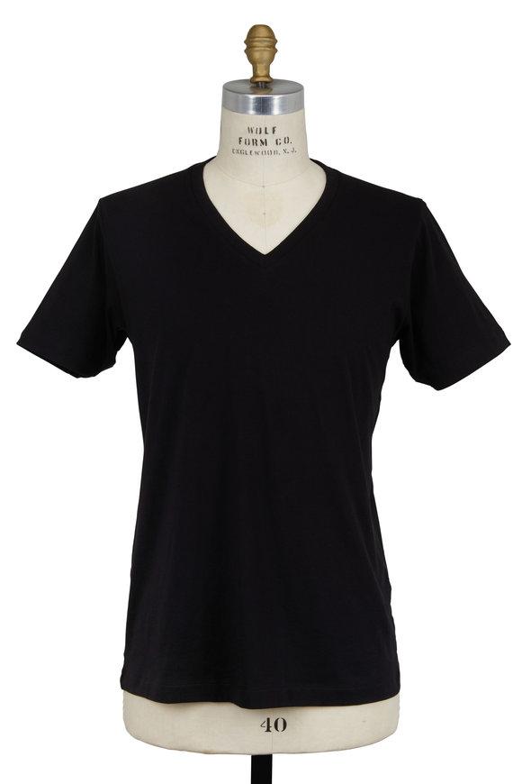 VKNagrani Black Cotton V-Neck T-Shirt