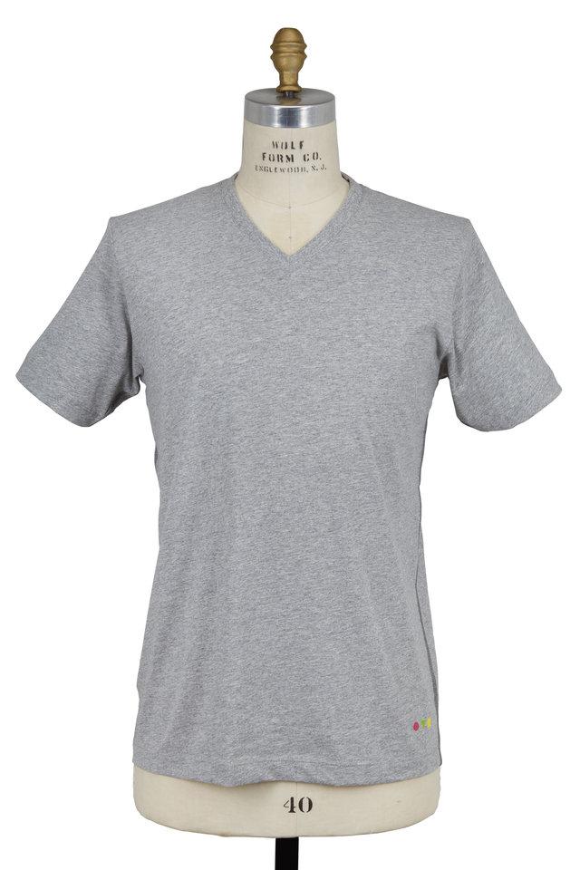 Gray Cotton V-Neck T-Shirt