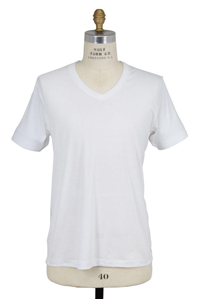 White Cotton V-Neck T-Shirt