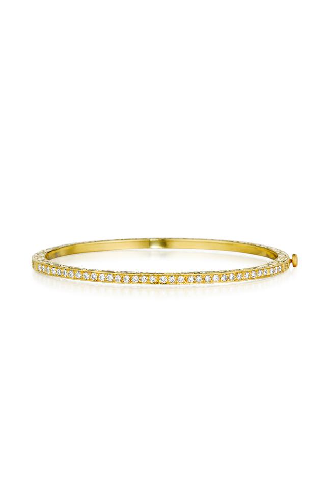 Gold Pavé-Set Diamond Bangle