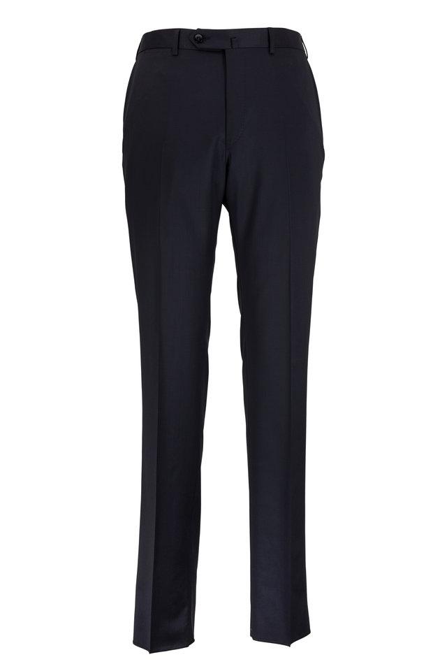Black Wool Regular Fit Trousers