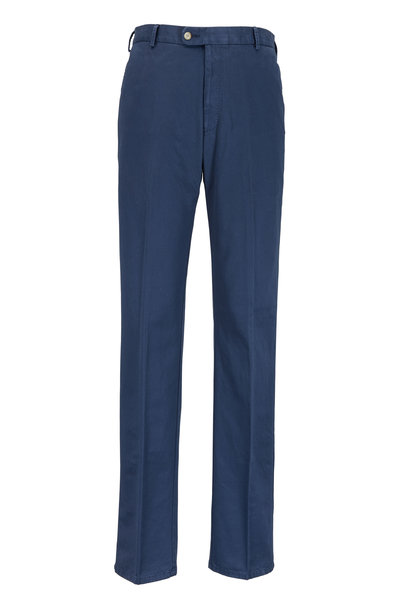Peter Millar - Navy Blue Washed Cotton Twill Classic Fit Pant