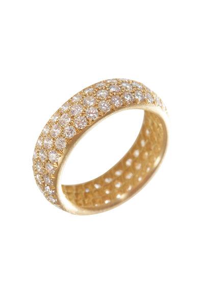 Caroline Ellen - 18K Yellow Gold Triple Row Diamond Ring