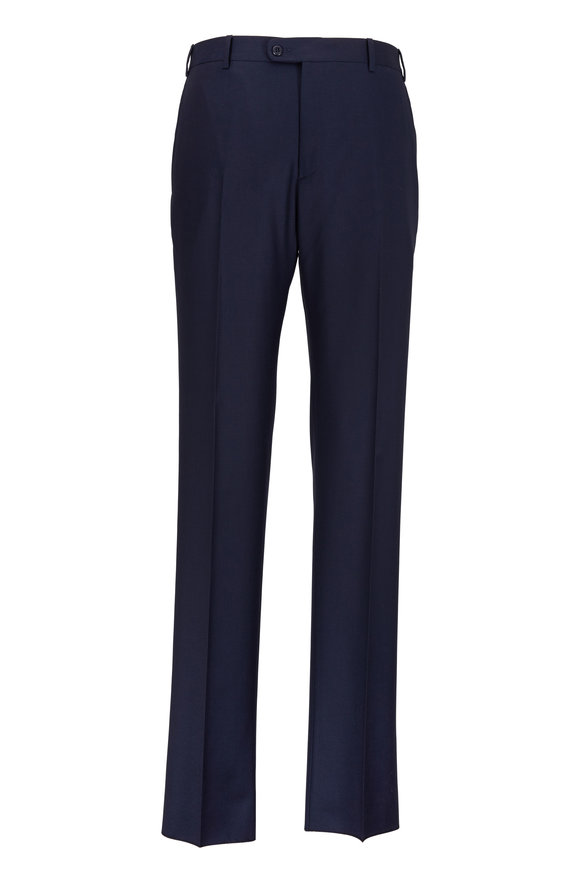 Zanella Devon Navy Blue Wool Trousers