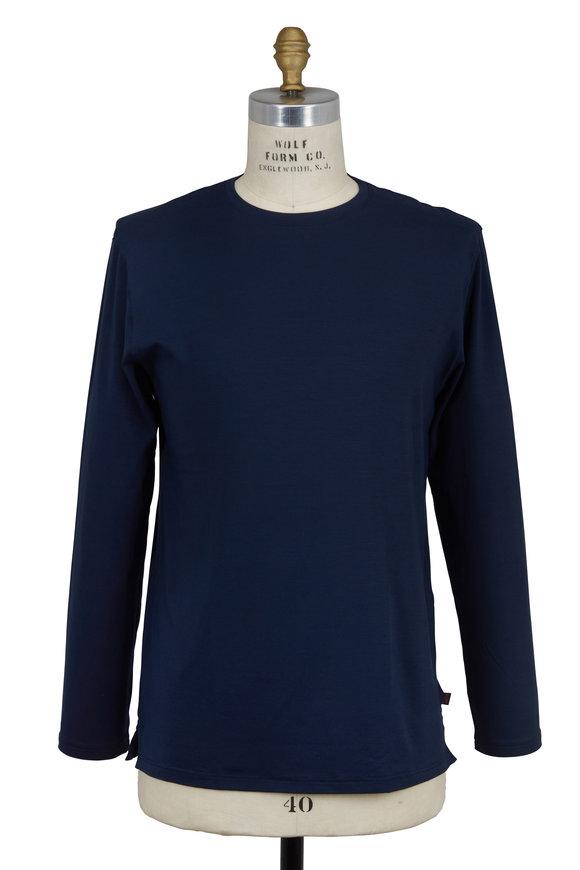 Derek Rose Navy Blue Jersey Long Sleeve Crewneck T-Shirt