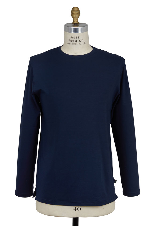 Navy Blue Jersey Long Sleeve Crewneck T-Shirt
