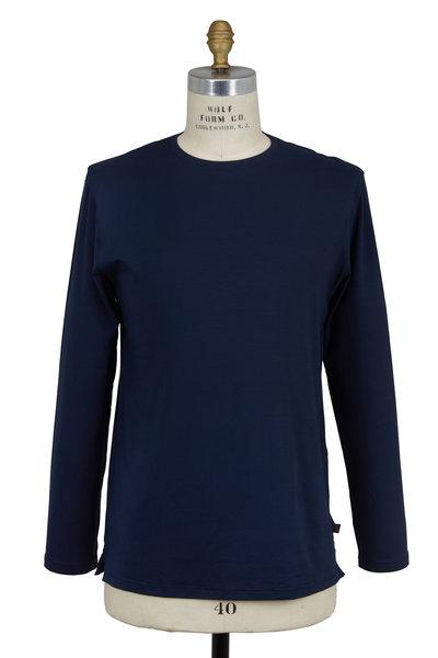 Derek Rose - Navy Blue Jersey Long Sleeve Crewneck T-Shirt