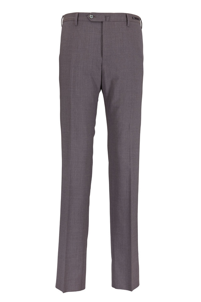 Taupe Stretch Wool Slim Fit Trousers