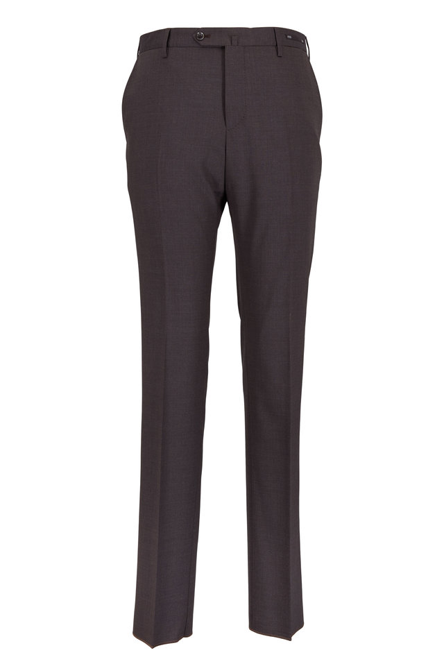 Chocolate Brown Stretch Wool Slim Fit Trousers