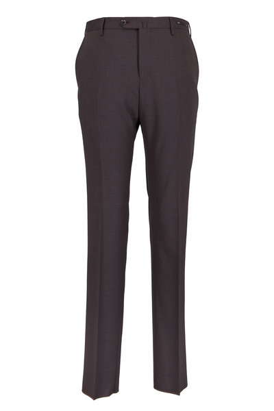 PT Torino - Chocolate Brown Stretch Wool Slim Fit Trousers