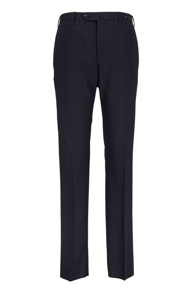 Charcoal Gray Stretch Wool Slim Fit Trousers
