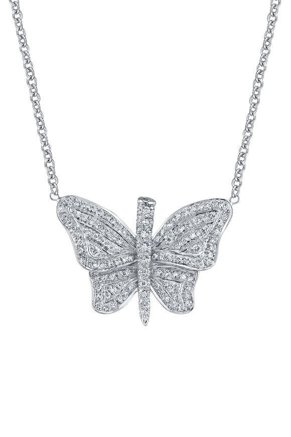 Aaron Henry White Gold Diamond Butterfly Necklace