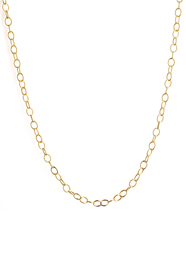 Yellow Gold Oval Link Chain Necklace