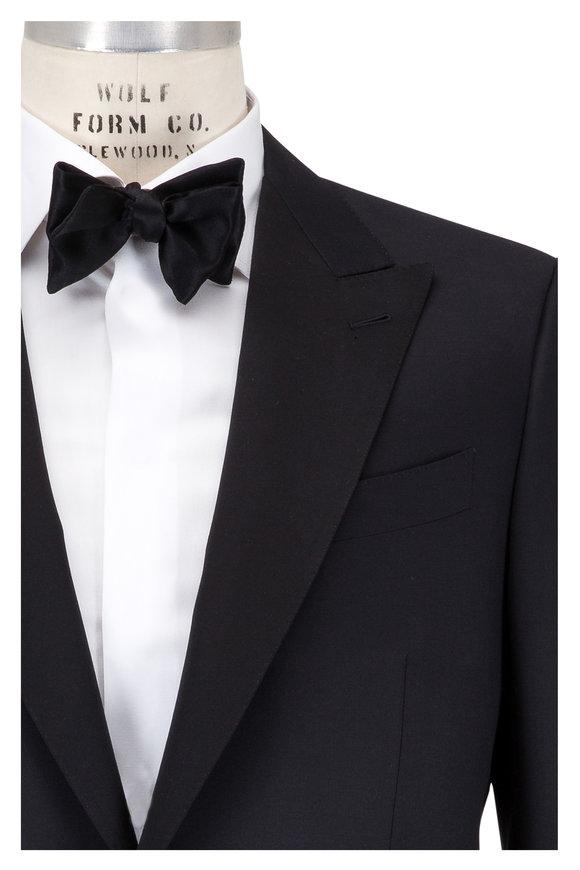 Ermenegildo Zegna Solid Black Micronsphere Wool Tuxedo