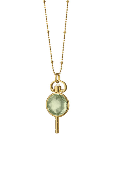 Monica Rich Kosann - Gold Green Prasiolite Pocket Watch Key Necklace