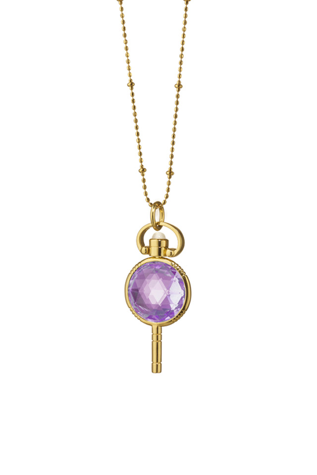 Gold Amethyst Pocket Watch Key Necklace