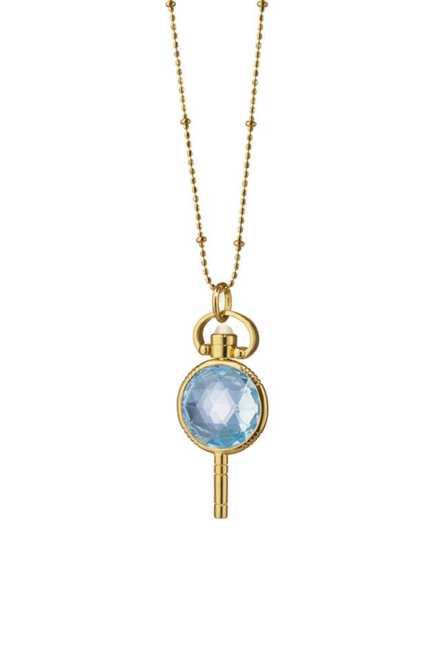 Gold Blue Topaz Pocket Watch Key Necklace