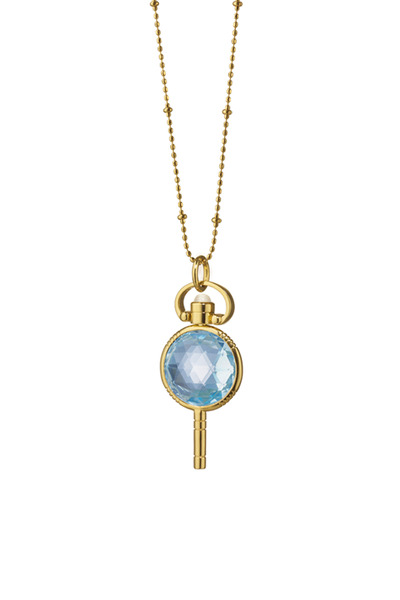 Monica Rich Kosann - Gold Blue Topaz Pocket Watch Key Necklace