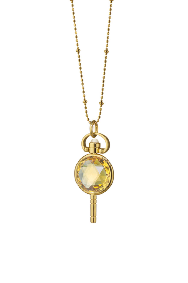 Gold Honey Quartz Pocket Watch Key Necklace