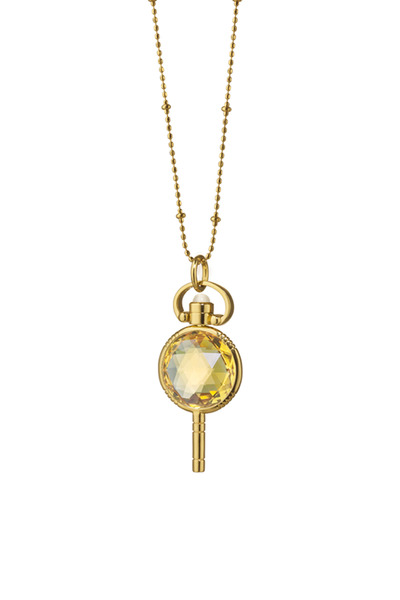 Monica Rich Kosann - Gold Honey Quartz Pocket Watch Key Necklace