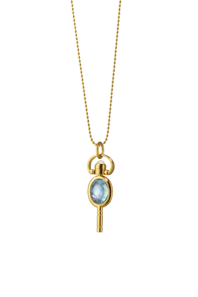 Gold Blue Topaz Oval Pocket Watch Key Necklace