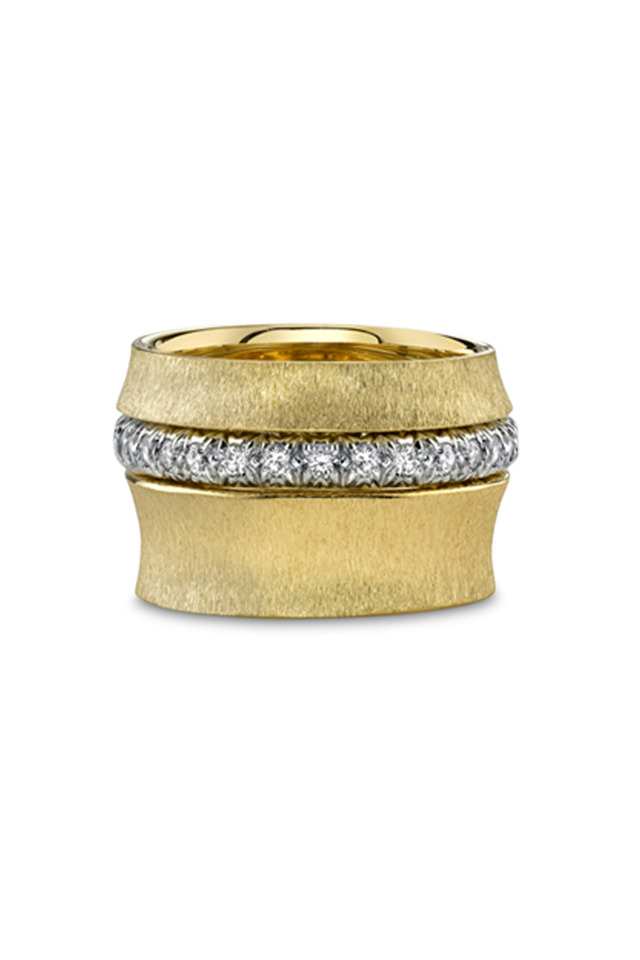 Gold Wide Bamboo Diamond Guard Ring