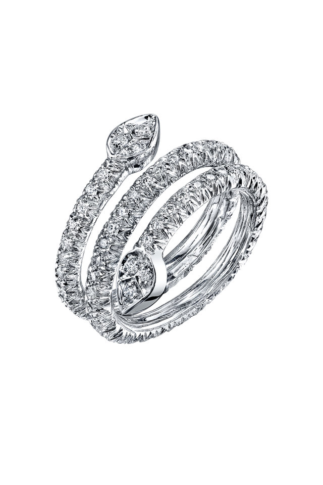White Gold 3 Row Olive Branch Coil Diamond Ring
