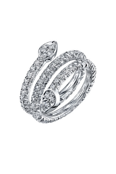 Aaron Henry - White Gold 3 Row Olive Branch Coil Diamond Ring