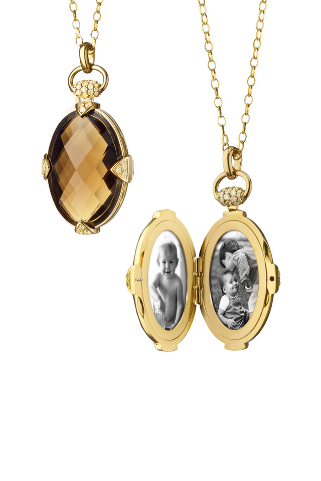 Yellow Gold Smokey Quartz Stone Locket