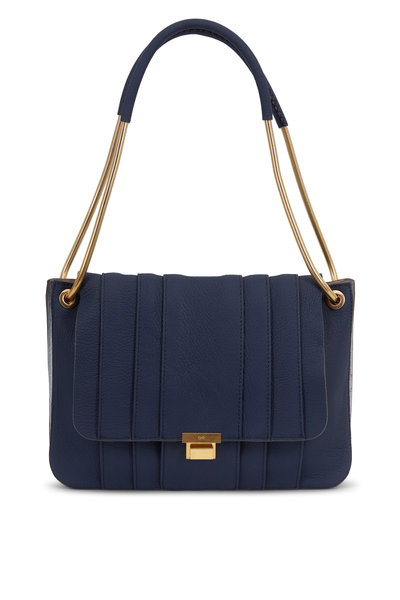 Anya Hindmarch - Gracie Navy Blue Leather & Snakeskin Shoulder Bag