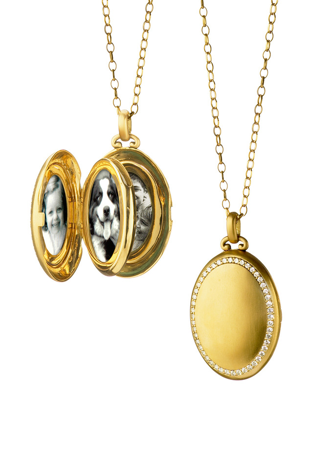 Yellow Gold Oval Diamond Locket Necklace