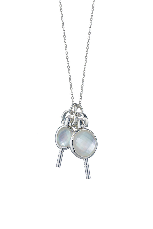 Silver Crystal Miniature Key Charm Necklace