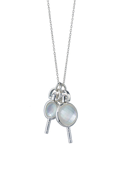 Monica Rich Kosann - Silver Crystal Miniature Key Charm Necklace