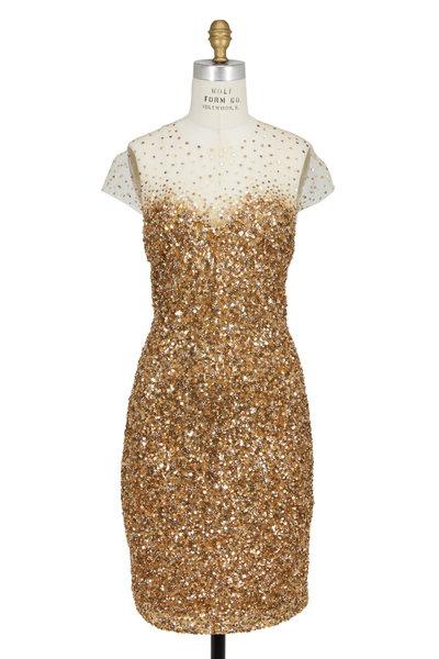 Reem Acra - Gold Sequin Illusion Dress
