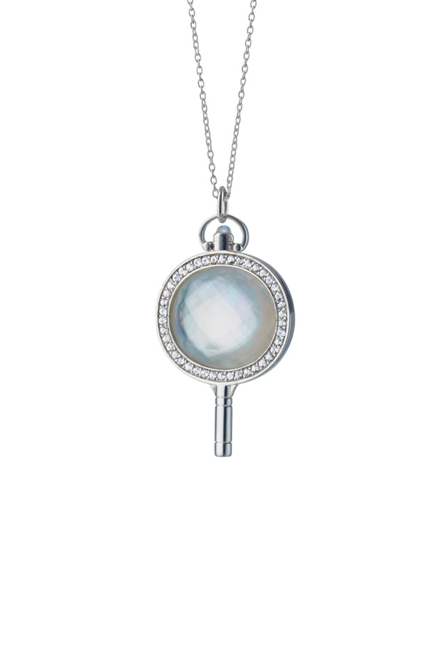 Mother Of Pearl Diamond Pocket Watch Key Necklace