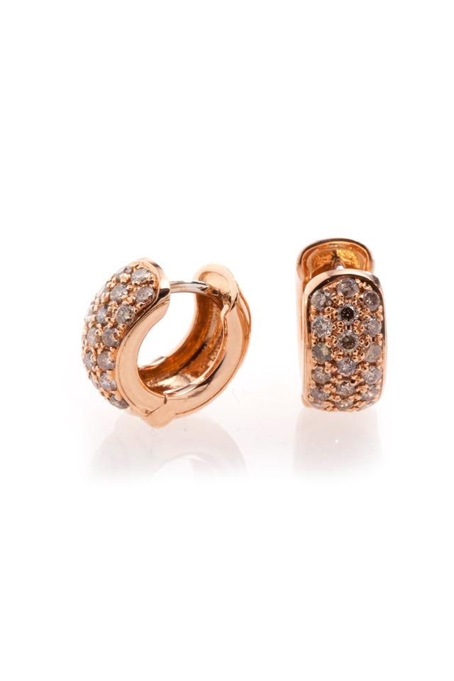 Pink Gold Cognac Diamond Huggie Earrings