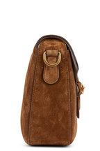 Gucci - Lady Web Tan Suede Medium Shoulder Bag