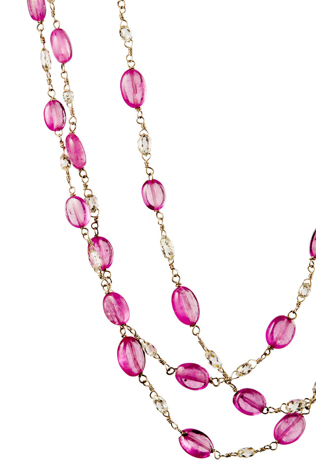 White Gold Diamond Pink Sapphire Necklace