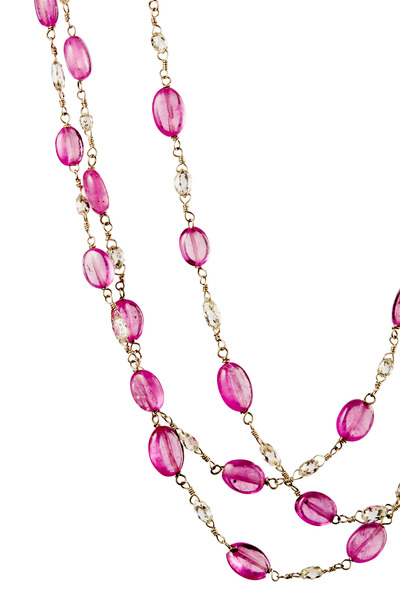 Kathleen Dughi - White Gold Diamond Pink Sapphire Necklace