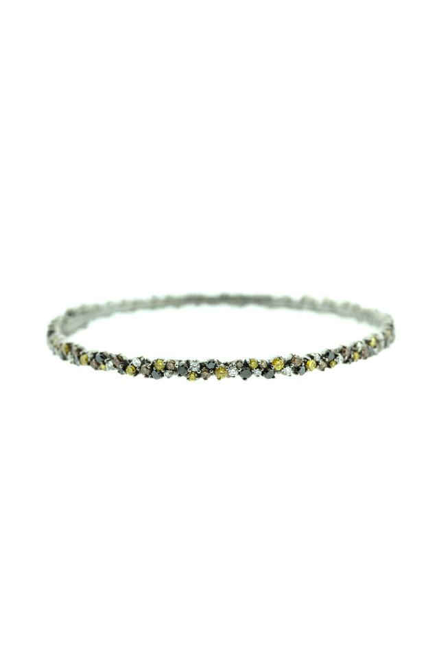 White Gold Multicolored Confetti Bangle Bracelet