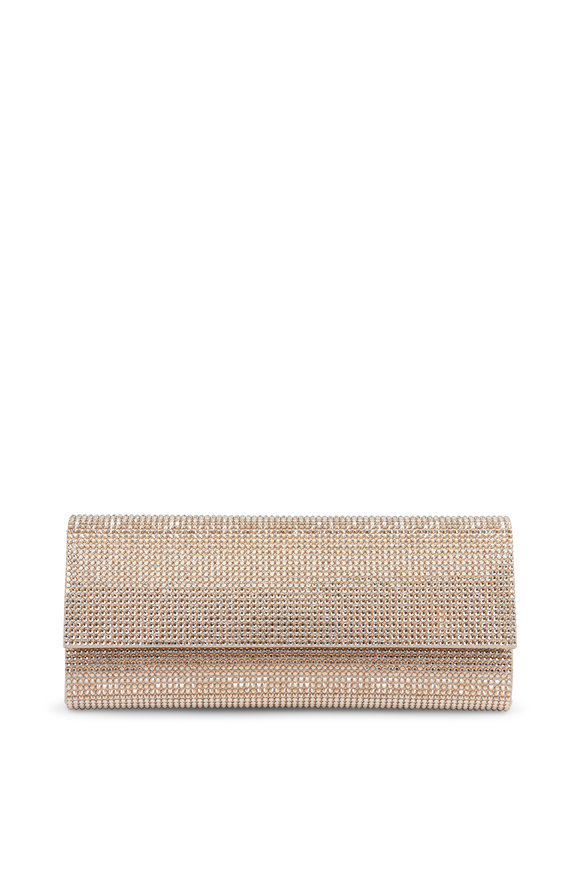 Judith Leiber Champagne Crystal Flap Front Clutch