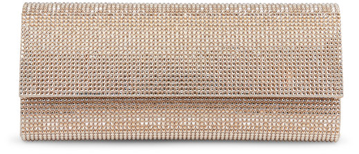 Judith Leiber Couture Champagne Crystal Flap Front Clutch